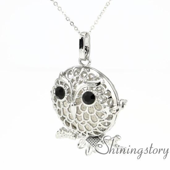 round night owl pendants diffuser necklace diffuser locket
