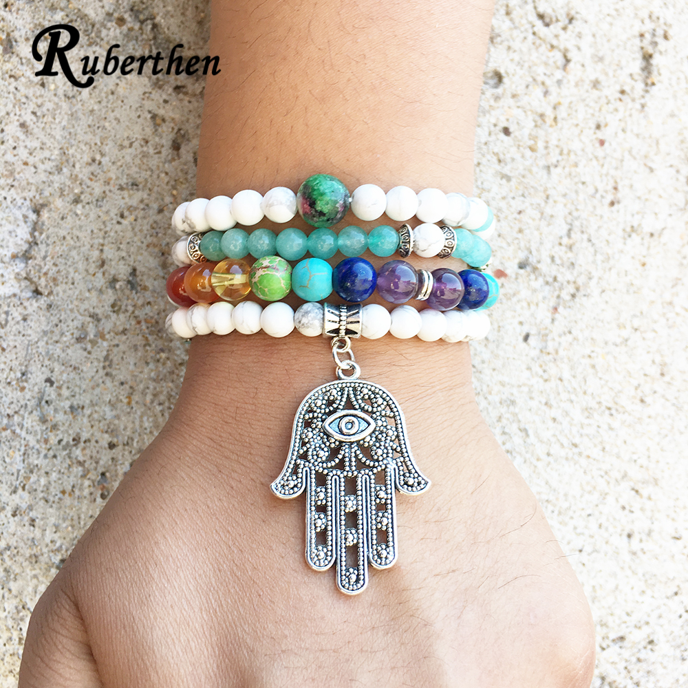 Blooming lotus designs women s - Ruberthen Vintage Women S 7 Chakra Bracelet Designer Lotus Ohm Hamasa Blue Stone 108 Mala