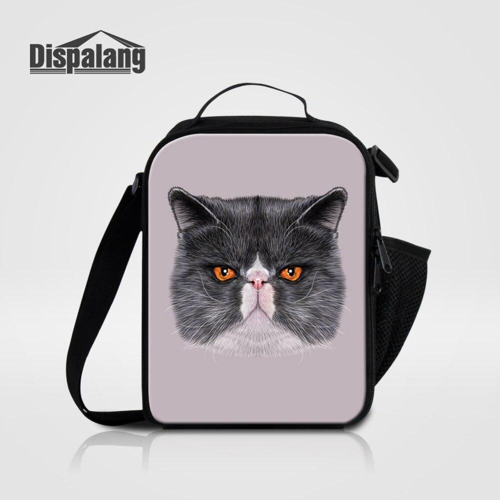 Dispalang Student Lunch Bag Lovely Cute Cat Print Thermal Cooler Lunch Picnic Bag Kids Small Picnic Handbag For Women Food Bag