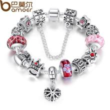 Bamoer Queen Jewelry Silver Charms Bracelet & Bangles With Queen Crown Beads Bracelet for Women SDP1823