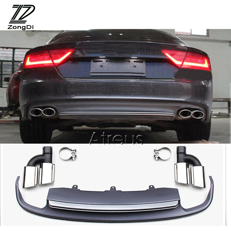 1Set Car Exhaust Pipe Tips With Rear Bumper Diffuser spoiler For Audi A7 standard hatchback 2012