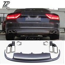 1 takım araba egzoz borusu ipuçları arka tampon difüzör ile spoiler için Audi A7 standart hatchback 2012 2013 2014 2015 aksesuarları
