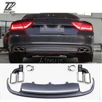 1Set Car Exhaust Pipe Tips With Rear Bumper Diffuser spoiler For Audi A7 standard hatchback 2012 2013 2014 2015 Accessories