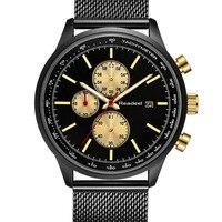 READEEL Для мужчин Watch Chronograph Нержавеющаясталь сетка ремень Военная Униформа Спорт кварцевые наручные Часы Для Мужчин Светящиеся стрелки Reloj