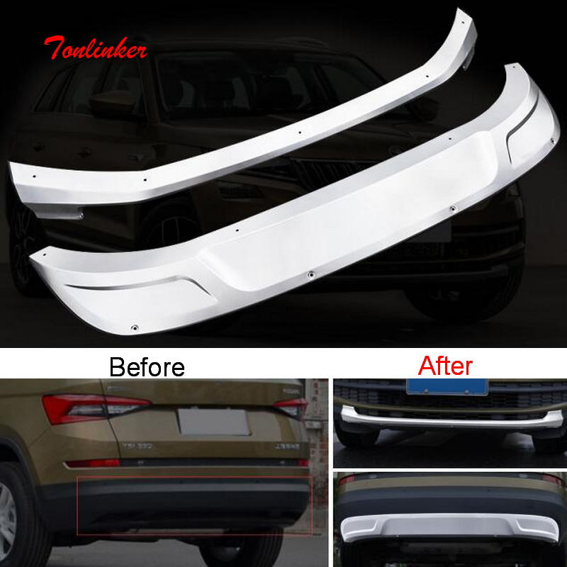 Tonlinker Cover Sticker for SKODA KODIAQ 2017-18 Car Styling 2 PCS Stainless steel front and rear Bumper guards Cover Stickers decoration protective guard rubber bar for car front and rear bumper black 2 pcs