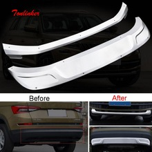 цена на Tonlinker Cover Sticker for SKODA KODIAQ 2017-18 Car Styling 2 PCS Stainless steel front and rear Bumper guards Cover Stickers