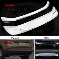 Tonlinker Cover Sticker for SKODA KODIAQ 2017 18 Car Styling 2 PCS Stainless steel front and rear Bumper guards Cover Stickers