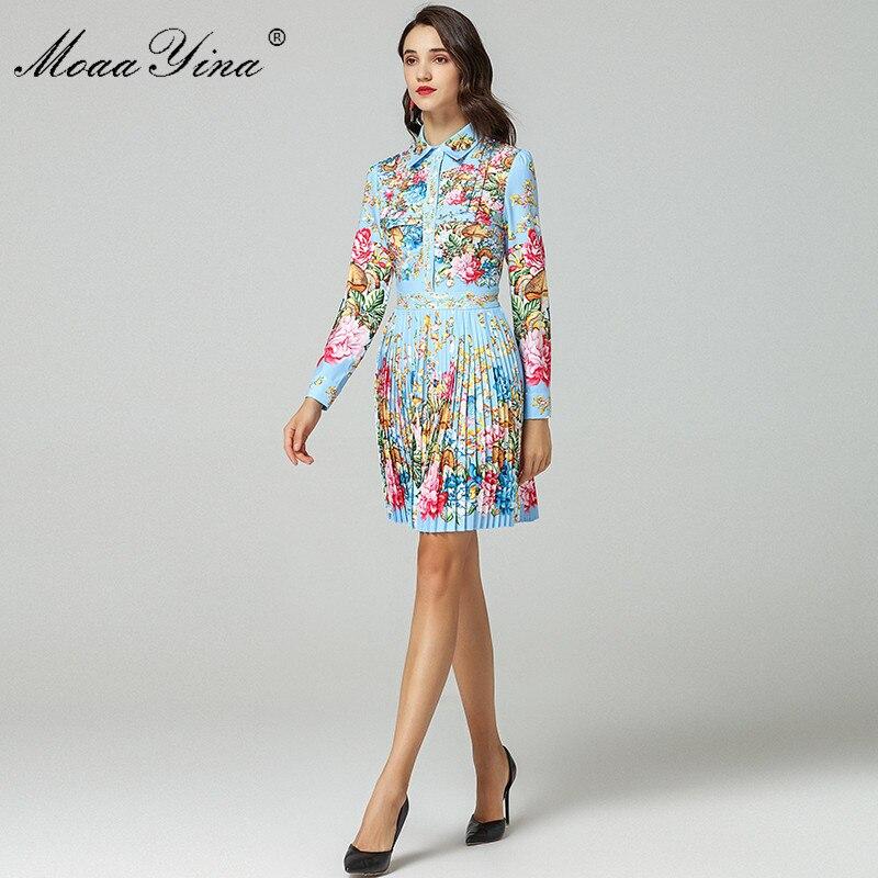 Moaayina 패션 디자이너 런웨이 드레스 봄 여성 긴 소매 턴 다운 칼라 구슬 꽃 인쇄 우아한 pleated 드레스-에서드레스부터 여성 의류 의  그룹 3