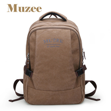 Muzee canvas backpack vintage canvas laptop men's backpack school bag rucksack daypack ME0568