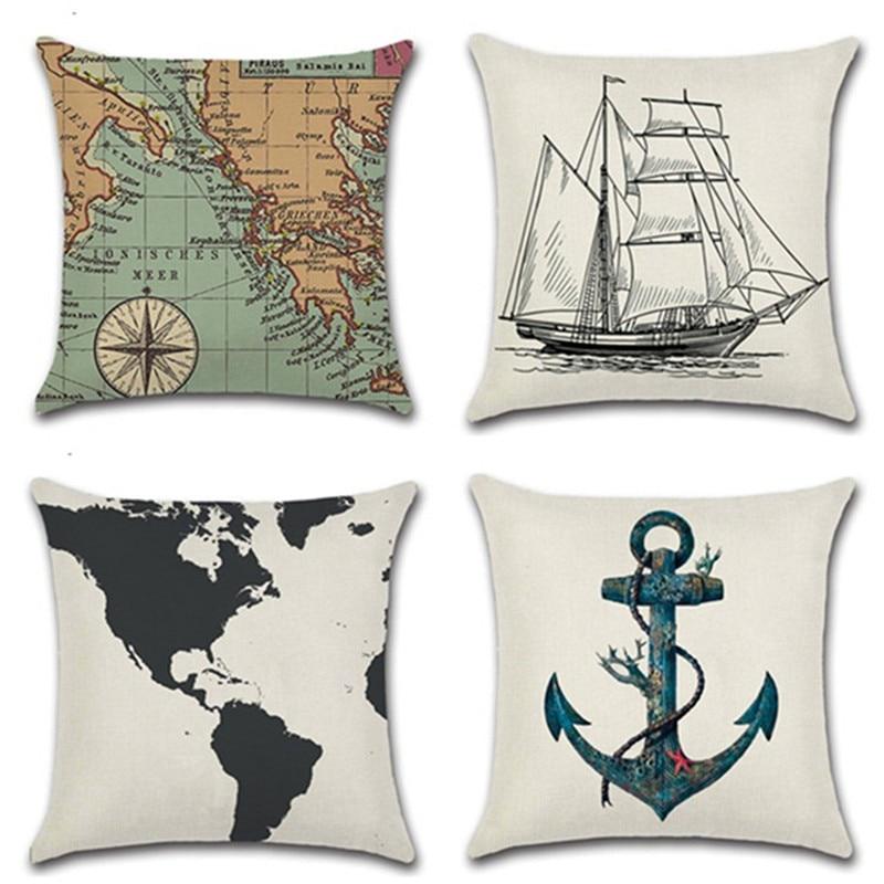 Mediterranean Sea Voyager Ship Boat Anchor Map Pillowcase Cushion Decorative Linen Cotton Throw Pillowcase 45*45cm