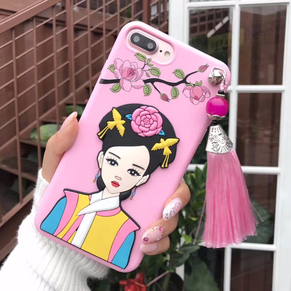 New Fashion Print Soft Phone Case For iPhone7 Flower China Oldest Fashion Silicone Protective Shell For iPhone7plus Coque Funda