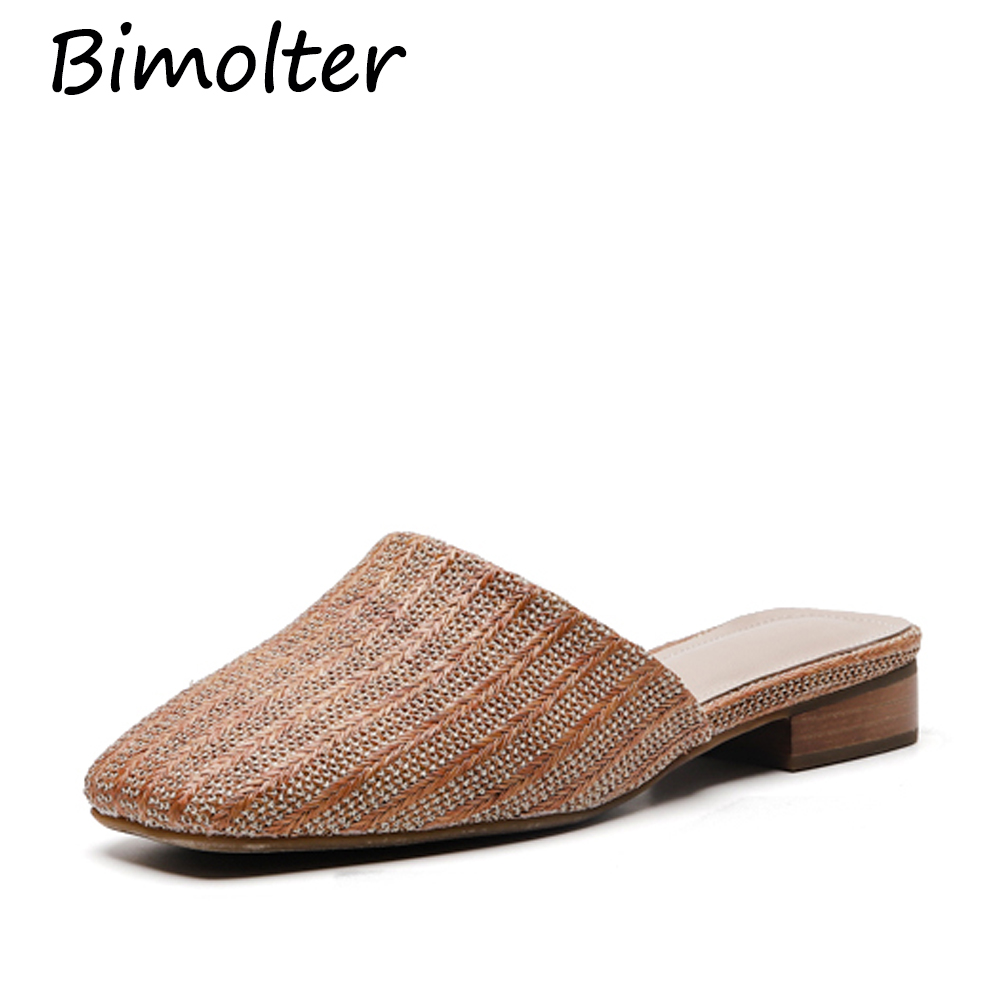 Bimolter Natural tropical royal rattan home slippers, Leather Inside cane grass weaving women slippers shoes Slides NC051