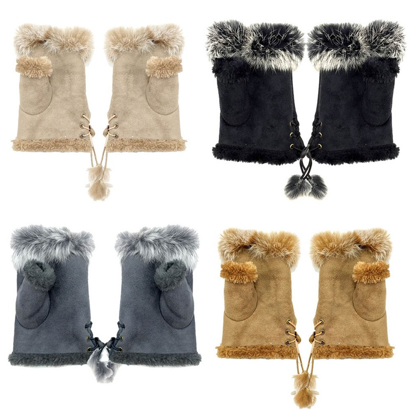 Women Winter Screen Gloves Faux Rabbit Fur Hand Wrist Warmer Fingerless Rope Gloves Luvas Gloves Guantes Handschoenen Eldiven