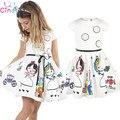 Retail 2017 Nueva ropa de las muchachas 100% de algodón lindo de dibujos animados blanco vestido de la historieta de la muchacha de la princesa vestido