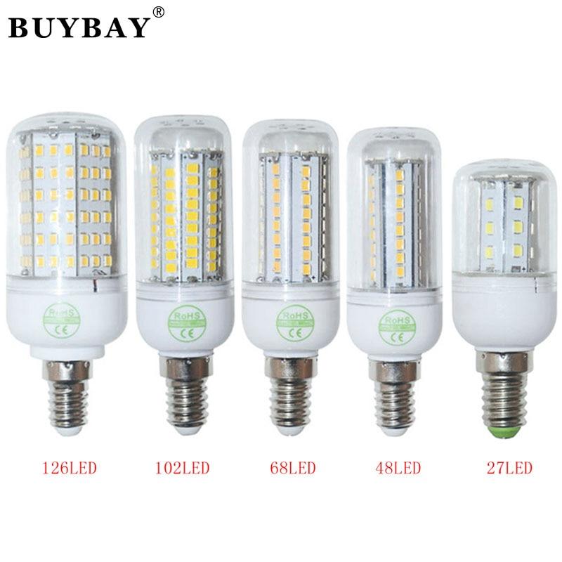 E14 Lampada Led Bulb 220V/110V 2835 SMD Led Lamp Warm White/ White,27 48 68 102 126LEDs ...