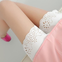 цена на Cotton leggings openwork lace three-pants solid color anti-lighting girl wind safety pants free shipping