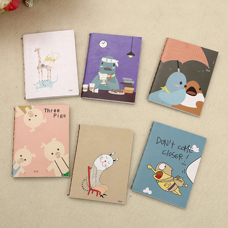 Portable Cute Cartoon Kraft Paper Notepad Memo Diary Notebook Exercise Books New