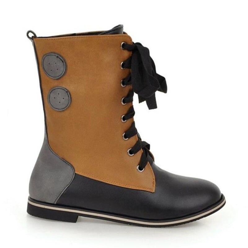 Coolcept Plus Botas Vintage 43 Negro Invierno Mixto Zapatos Las Mediados Piel Tamaño Mujeres naranja De Color 34 Madre Caliente Pisos Ternero rrx18dpwqn