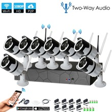 8CH two way audio talK HD Wireless NVR Kit P2P 1080P Indoor Outdoor IR Night Vision Security 2.0MP IP Camera WIFI CCTV System