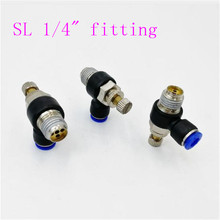 купить G1/4 Pneumatic Air flow Regulator throttle valve  Speed Control Valve Tube Water Hose Pneumatic Fittings дешево