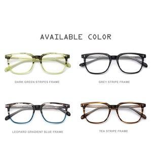 Image 5 - アセテート眼鏡フレーム男性正方形処方メガネ新人男性の男性近視光学フレーム眼鏡眼鏡9114