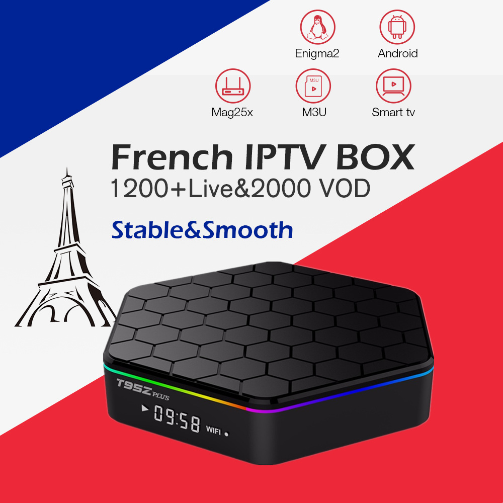 Arabic French iptv box T95Zplus Android 7.1 tv box Amolgic S912 3G 32G 1200 Live&vod Arabic French Belgium smart set top tv Box
