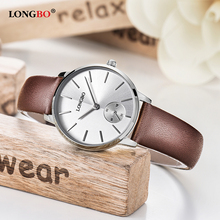 Пара наручные часы Longbo бренд Роскошные модные часы всего для Для мужчин Для женщин леди Гент кожаные независимый указатель часы 80286