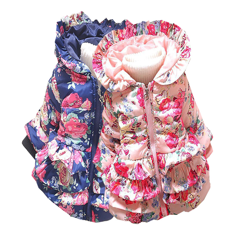 Lányok ruhák Téli pamut kabát Karikatúra nyomtatott párnázott meleg kapucnis felsőruházat 2-4 Y gyermek kiváló minőségű ruházat