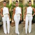 QA247 Mangas halter irregular top de cintura alta soltas macacões romper longo jumpsuit mulheres branco elegante