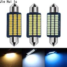 50 adet araba Canbus C5W 31/36/39/41MM 3014 21/30/36Led iç okuma ışığı otomatik plaka festoon dome lambası beyaz buz mavisi 12V