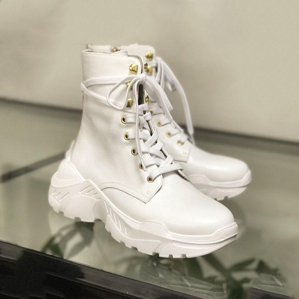 2019 white Las El Moda Grueso Nuevo Redondo Botas Fondo Dedo Mujeres Tobillo Más Zapatos Retro Del Pie De Black Mujer Martin RaRYqdrw