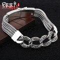 Tailândia importação de mão cadeia beier 925 pulseira de prata pura mão tricô pulseira j925sl25 elo da cadeia do homem do vintage