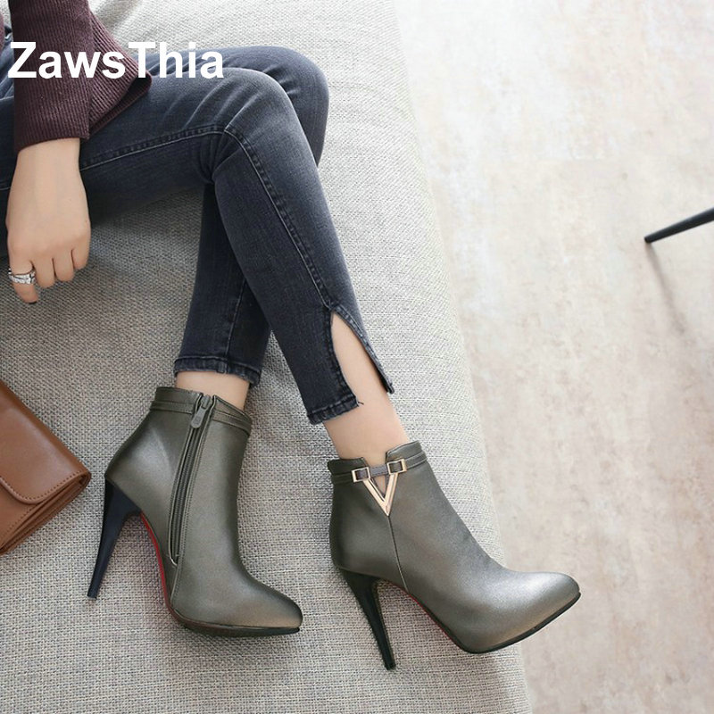 ZawsThia gold grey sexy woman ankle boots pointed toe high heels platform winter autumn women shoes pumps fashion boots size 44 new women pumps transparent wedges high heels ankle pointed toe high heels pring autumn sexy shoes woman platform pumps