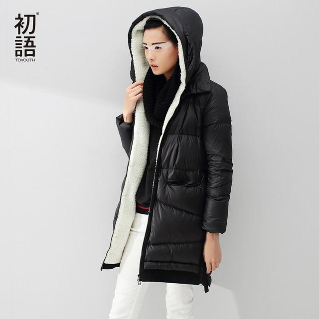 Toyouth Пух куртка 2017 Осенне-зимняя Дамская обувь Мех с капюшоном флис средней длины теплая Черная куртка