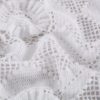 Handmade Crochet Bed Coverlet Good Handmade Carving Bedcover Applique Patch Work Bedspread Natural Transparent Cotton Bedsheet