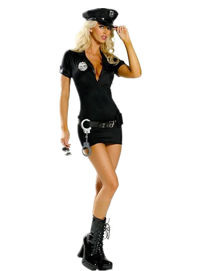 Sexy black police woman Halloween cosplay costume plus size adult cop uniform dress front zip M4329