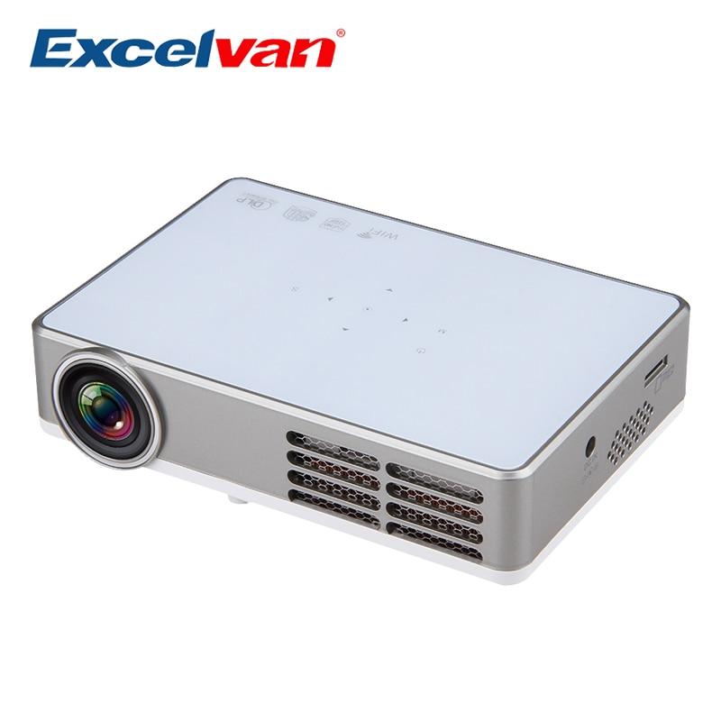 Prix pour Excelvan LED9 Android 4.4 DLP Mini Projecteur Sans Fil WiFi Pleine 3D HD Proyector Home Cinéma Beamer 1280*800 pixels 3000 Lumens