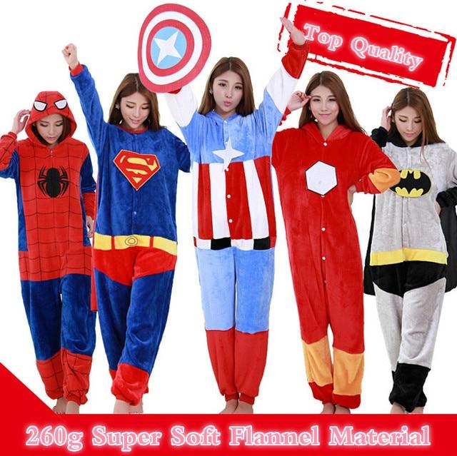 5e5bf4c49e Adult Anime Onesie Cosplay Costume Pajamas Party Pyjamas Women Men  Sleepwear Iron Man Captain America Batman Spiderman