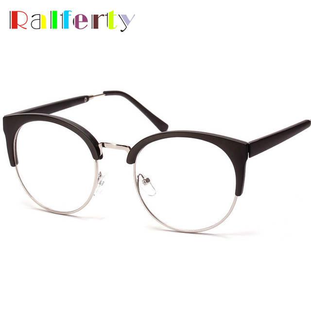 399dc47dc22 Ralferty Korea Round Semi-Rimless Eyeglasses Frames Eyewear Men Women  Vintage Transparent Lens Myopia Optic