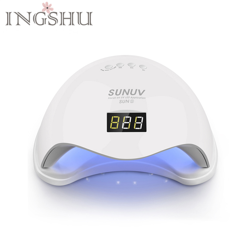 INGSHU SUN5 48W Dual UV LED Nail Lamp With LCD Display Professional Curing Nail Dryers & Nail Tools for All UV Gel Nail Polish
