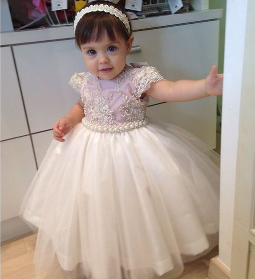New Puffy Baby Girls Birthday Dresses 2017 Custom Made Flower Girls Dresses for Wedding First Communion Dress Free Shipping