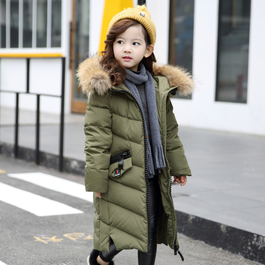 HSSCZL Girls Down Jacket 2017 Brand Winter Thick Long Hooded Big Fur Collar Girl Down Jacket  Coats outerwear Overcoat Clothes mens long winter camouflage jacket fur hooded down 2017 outwear thick military style parkas male big coats army green camo 3xl