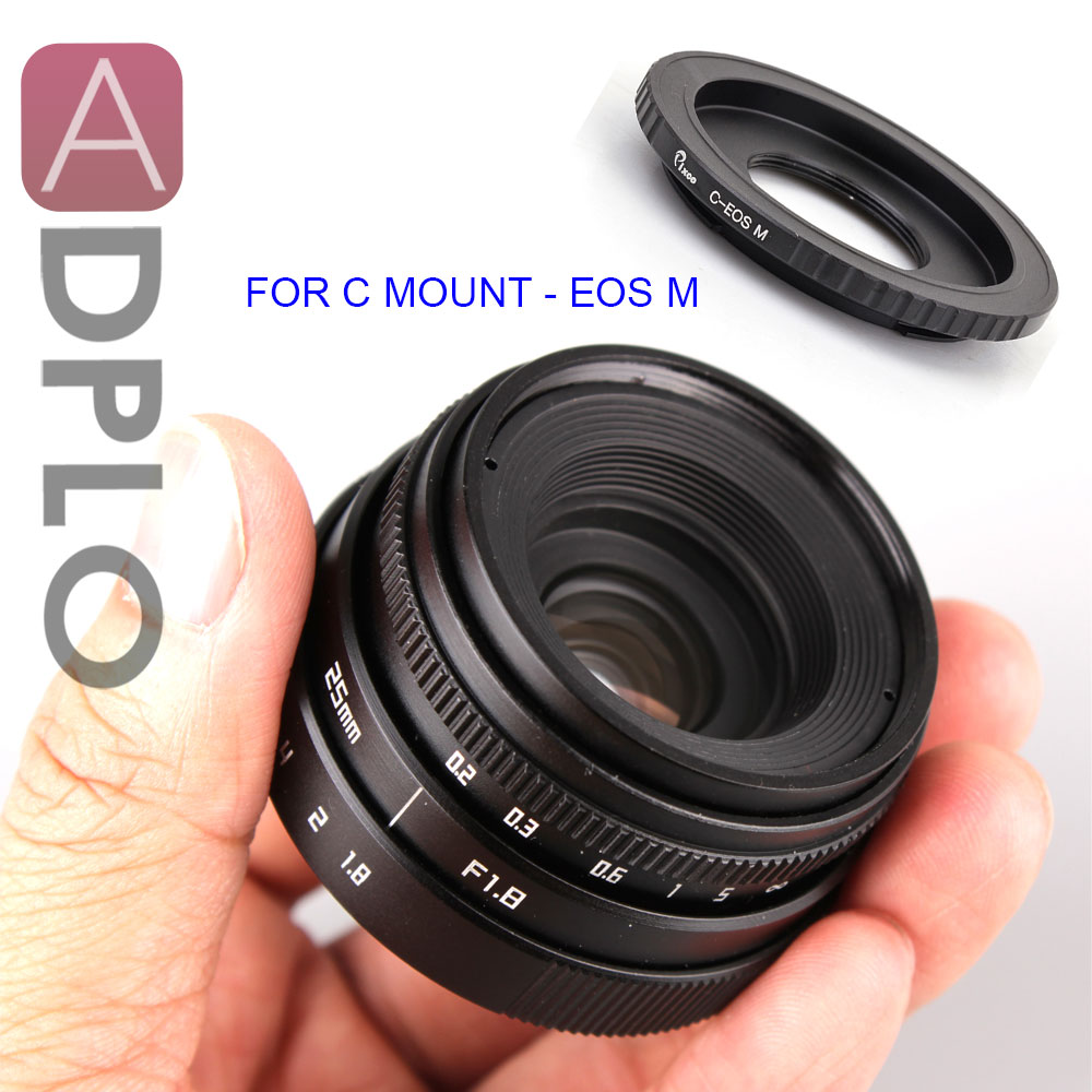 ADPLO Black 25mm F1.8 APS-C Television TV Lens Suit For Nikon 1 Micro 4/3 for Pentax Q Nex for Fuji fx for Canon eos M camera aps c cl mil7528n 7 5mm f2 8 fish eye wide angle lens suit for fujifilm fx nex micro 4 3 eos m gift lens bag camera straps