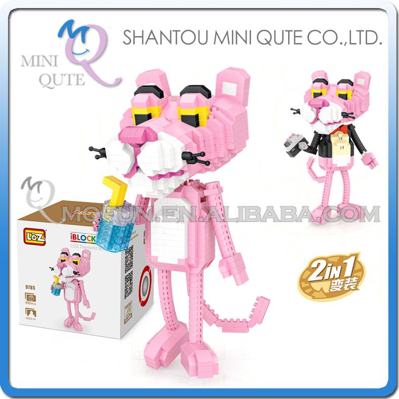 Mini Qute LOZ movie characters kawaii girls kids Pink Panther action figures gift plastic building blocks model educational toy mini qute wtoyw loz kawaii sesame street monster university sulley mike toy story buzz woody building block educational toy