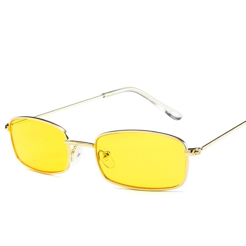 33e1fa5d62 Gafas de sol de Metal para hombre, gafas de sol cuadradas pequeñas y Retro,  gafas de sol amarillas y rosadas para mujer, gafas de gafas con montura  pequeña ...