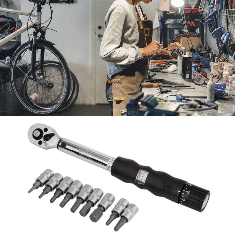 "1/4 ""2-14nm Drive Klik Momentsleutel Hand Spanner + 9 Socket Bits + Box Set Fiets Tool Dec03"