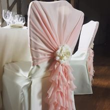 High Quality Chiffon Chair Cover Hood with Curly Willow Ruffles for Wedding Events Party Hotel Home OutDoor Ceremony Decoration