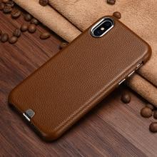 Original XOOMZ Case Cover For iPhone X Capa Luxury Genuine Leather Back Apple iPhoneX Metal Element