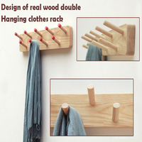 Special Modern Minimalist Fashion Wall Hangers Coat Racks Of Fraxinus Mandshurica Solid Wood Furniture Double Row