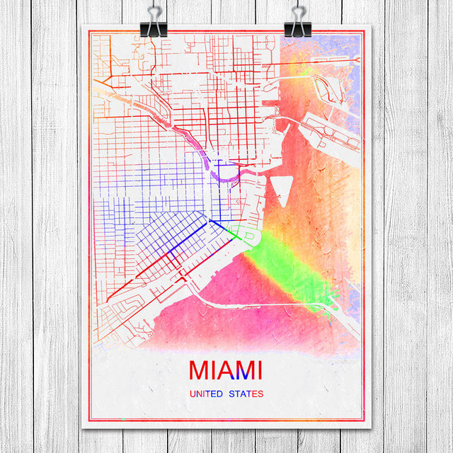 Miami usa famous colorful world city map print poster abstract coated paper bar cafe living room